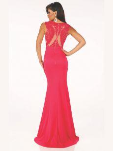 Бална рокля червена дантелена